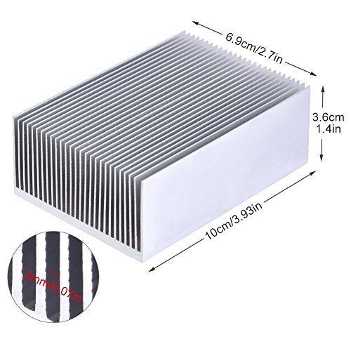 1 Satz Aluminium Kühlkörper Kühlung Fin Kühler Für Led-verstärker Transistor IC Modul Oder Computer, 100 (L) x 69 (B) x 36mm (H)