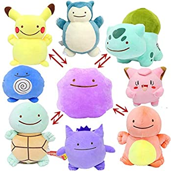 TSYGHP 8 Styles 12Cm Ditto Metamon Pika Bulbasaur Charmander Squirtle Poliwhirl Gengar Snorlax Inside-Out Cushion Plush Doll Pikachu Toy