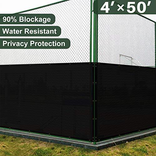 Coarbor 4'x 50' privacy recinzione per giardino di casa con occhielli in ottone resistente 130gsm, ideale per esterni patio e terrazza nero, Solid Black, 4'x 50'