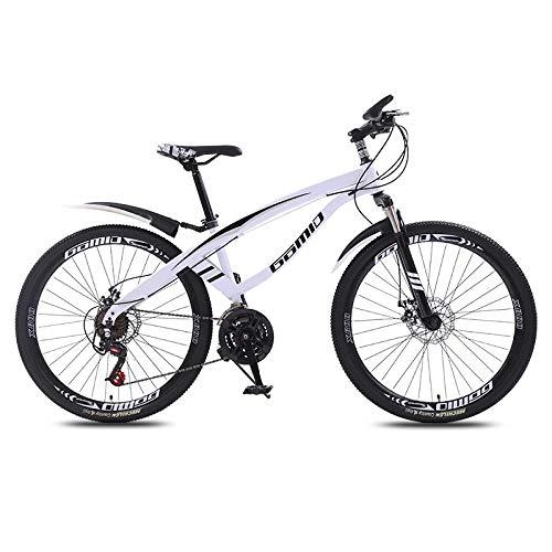 DGAGD Bicicleta de montaña de 24 Pulgadas, luz de Velocidad Variable, 40 Ruedas de Cuchillo, Bicicleta-Blanco_21 velocidades