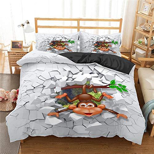 Bcvvsovs® Tröster setzt Decke, 3D Cartoon Tieraffe Bettwäsche, Ganzjahres-Steppbettdecke für Kinder, Jungen, Mädchen, Teenager, Kinder - Enthält 1 Bettdecke, 2 Kissen 135 x 200 cm 3-teiliges Bettwäsc