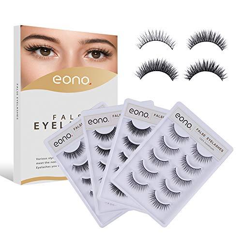 Eono by Amazon - 20 Paar Falsche 3D Wimpern, 4 Arten von Wimpern, Wiederverwendbar, für Anfänger Geeignet, Make-up Essential-Produkte