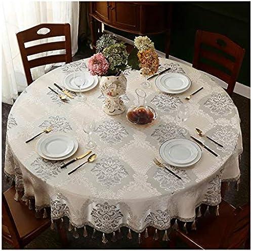 Qiao jin &Tischdecke Polyester Runde Tischdecke Home Tischtuch Leinen Abdeckung Hotel Outdoor Camping Grill Weiß Gedruckt Stoff Tischdecken (Größe   Round-260cm)