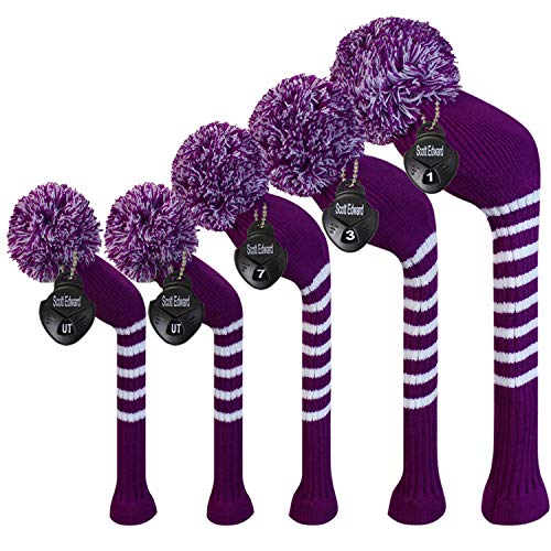 Scott Edward Purple &White Stripes Golf Club Covers Set of 5 Fit for Driver Wood(460cc) 1, Fairway Wood2,and Hybrid(UT) 2, (Purple &White Stripes)