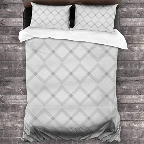 shenguang Gray Stripes 3-Piece Bedding Set,All-Season Quilt Duvet Cover with 2 Pillowcases, Soft Zipper Bedspread Coverlet No Comforter 86'x70'