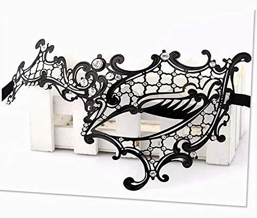 Xiton venezianischen hohlen Gesicht Prinzessin Halbmaske mit schlanken Metall Diamant, Halloween Sexy Spitzen-Maske für Maskerade Party, Hochzeiten, Fasching, Karneval in Venedig und Tanz, schwarz