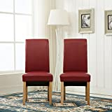 <span class='highlight'>MCC</span>-<span class='highlight'>Direct</span> Set of 4 Faux Leather Dining Chairs Roll Top Scroll High Back For Home & Commercial Restaurants [Brown* Black* Red* Cream*](D) (Red)