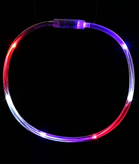 Fun Central LED Light Up Chaser Necklace, Flashing Lights Necklace Party Supplies for July 4th Events & Parties - Red White Blue