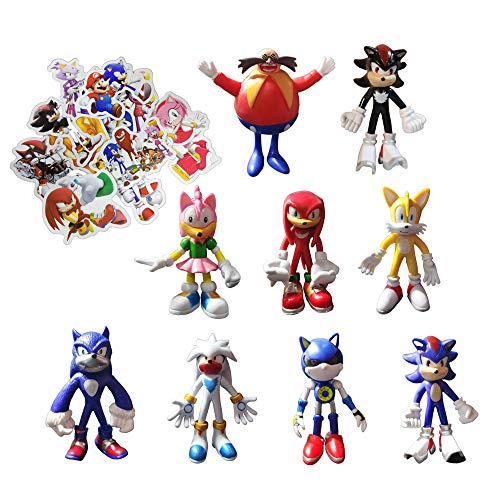 Sonic Figure Toys 9 unids/set Enviar 100 Sonic Pegatinas Sonic The Erizo Figura Juguete Sonic Shadow Tails Personajes Figura PVC toysmovable dollsmodel Colecciones Regalos de cumpleaños