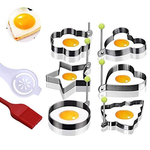 Molde de huevo frito molde de panqueque, galleta, pastel, molde de acero inoxidable, separador de clara de huevo, cepillo de aceite de silicona, juego de ocho piezas