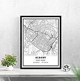 LTGBQNM Mapa de Albany Imprimir Cartel Lienzo |New York Albany City Map Print Poster Canvas |Mapa de la Calle Albany 20x28inchx1 No Frame