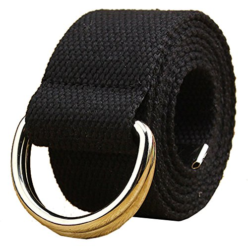 Canvas Web Belt Double D-ring Buckle 1 1/2 Inch Wide 54 Inch Long with Metal Tip Solid Color Black