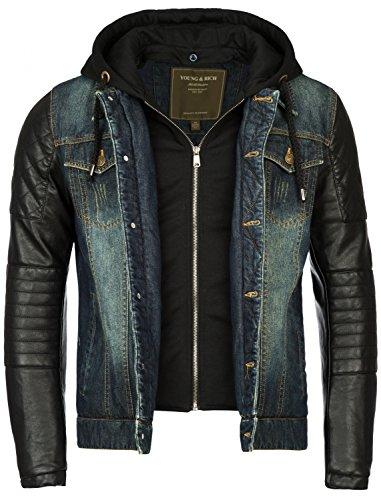 Young&Rich Gefütterte Herren Winterjacke der Marke Jeansjacke Vintage mit Innensweat und Kunstlederarmen, Blau, M
