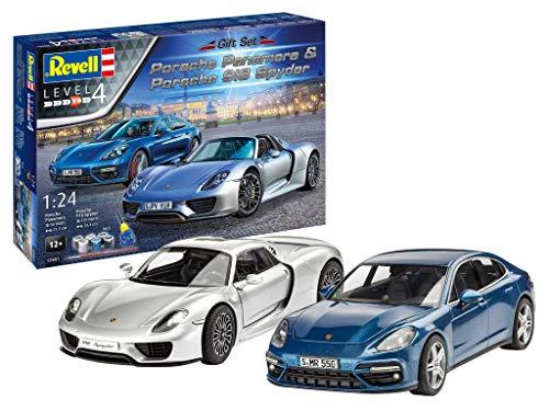 Revell 05681 Porsche Set originalgetreuer Modellbausatz für Fortgeschrittene, mit Basis-Zubehör, unlackiert