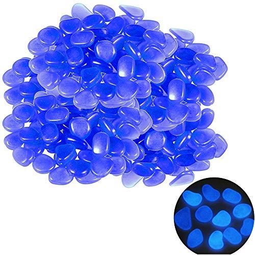 100 Piezas Iluminación Solar Piedras Azul Brillan en la Oscuridad Guijarros Piedras Brillantes Decoración del Jardín Artificial para el Acuario de Halloween Pasillo del Jardín Decoración (A)