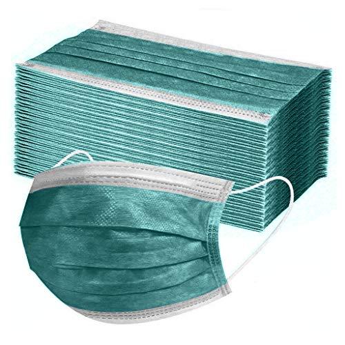 50/100 pièces masques jetables multicolore pour le visage - Respirant - Élastiques pour les oreilles -Activités extérieures (50 pièces, Vert foncé)