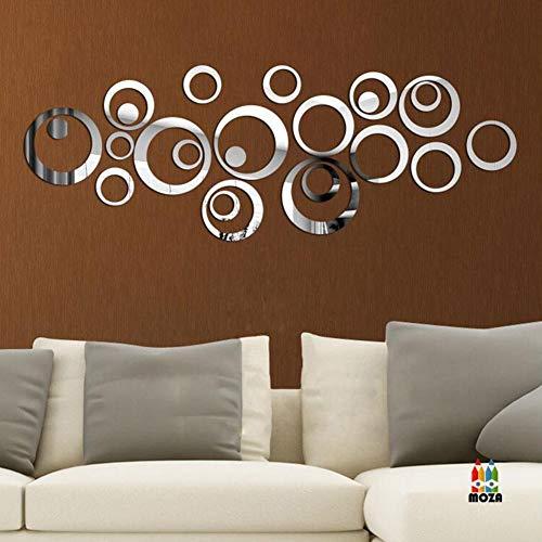 24 Stück Spiegel Wandaufkleber DIY Wohnzimmer Schlafzimmer Badezimmer Hintergrund Wanddekoration Aufkleber Silber