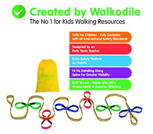 Grab & Go (für 12 Kinder) - Kinder Wandern Seil. Sicherheitsleine für Kinder. Premium Qualität mit kostenlosen Lernspielen für Spaziergänge Broschüre/Anleitung