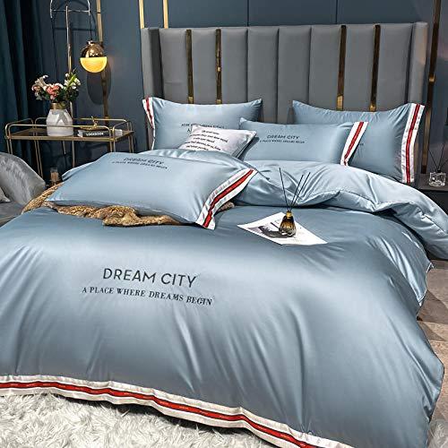 Set de Fundas Reversibles para edredón,La seda de lavado de agua de verano es un juego de cama de lujo ligero en una sola cama de cuatro piezas-norte_1,8 m la cama (4 piezas) [Adecuado para el núcleo