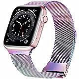 HILIMNY Correa de metal compatible con Apple Watch Correa 42mm 44mm 45mm, correa de repuesto de malla de acero inoxidable con bucle para IWatch Series 7/6/5/4/3/2/1 / SE, colorida 42/44/45SM