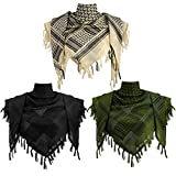 3 Pieces Shemagh Scarf Tactical Desert Scarf Tassel Keffiyeh 43 x 43 Inch (Green, Khaki, Black)