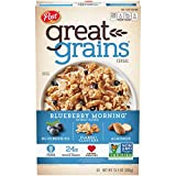 Post Great Grains Blueberry Morning Breakfast Cereal, Non GMO Project Verified, Heart Healthy, Low Fat, Whole Grain Cereal 13.5 Ounce (Pack of 12)