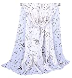 Alysee Women Dreamy Musical Note Print Chiffon Long Scarf Shawl Wrap Color White
