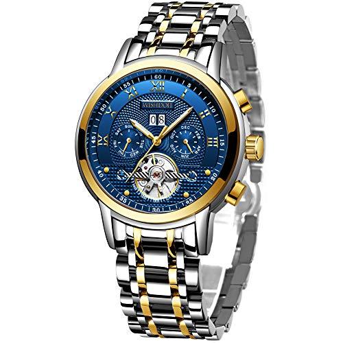 Herenhorloges Mechanische automatische herenhorloge waterdichte kalender roestvrij staal horloges met mode elegante zakelijke jurk goud zwart