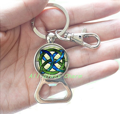 Charming Bottle opener Keychain,CELTIC WEDDING Jewelry - Stained Glass Green and Blues Celtic Knot - Celtic Knot Bottle opener Keychain - Irish Jewellery - Celtic Bridal Jewelry,AS115