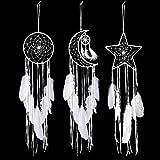 Jetec 3 Pièces Attrape-Rêves Conception d'Étoile Soleil Lune Conception Traditionnelle à la Main pour Décoration de la Maison à Suspendre Murale (Blanc)