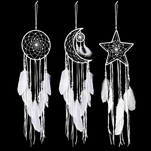 Jetec 3 Pieces Dream Catcher Moon Sun Star Design Handmade Traditional Design White for Wall Hanging Home Decoration