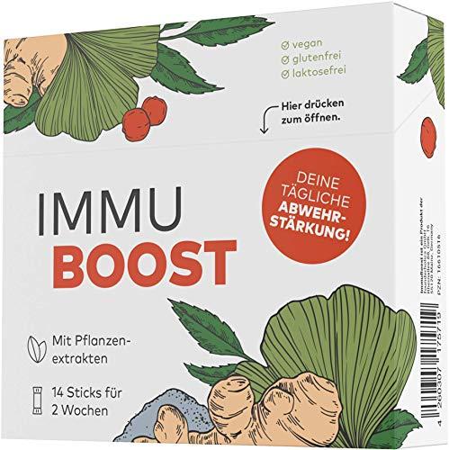 ImmuBoost® Sticks | 14 Sticks | 1 Tag 1 Stick | Immunsystem stärken | 2 Wochen Immunkur mit Vitamin C & Zink | Mit Ingwer Acerola & Magnesium | Multivitamin Komplex Abwehrkräfte | vegan & hochdosiert
