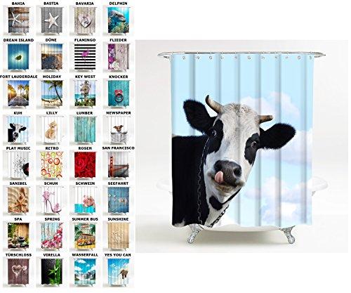 Sanilo Duschvorhang, viele schöne Duschvorhänge zur Auswahl, hochwertige Qualität, inkl. 12 Ringe, wasserdicht, Anti-Schimmel-Effekt (180 x 200 cm, Kuh)