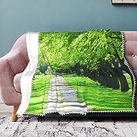 ブランケット ベルベット布毛布 ふわふわ毛布 軽量 柔らかい 暖かい部屋室外冷房防寒対策 森 緑の並木パターン