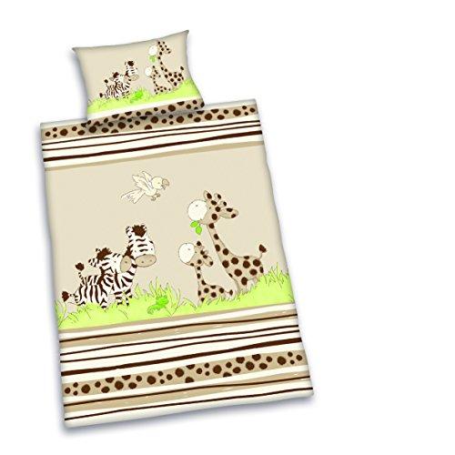 Herding Baby Best beddengoedset voor kleine kinderen, Jana Zebra omkeerbaar, dekbedovertrek 100 x 135 cm, kussensloop 40 x 60 cm, katoen/renforcé