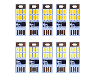 HUAHA 10pcs UBS Mini Night Lights-6 Led Keychain Lights Lamp with Smart Touch Electrodeless Dimming Switch for Laptop,Emergency Security Lighting Home Decoratio