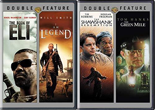 Dynamic 4Film DVD Bundle Prison Shawshank Redemption & The Green Mile Stephen King Tom Hanks + Book of Eli & I Am Legend Movie Feature Set