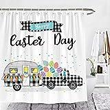 Wencal Happy Easter Day Buffalo Check Plaid Truck Camper Trailer Duschvorhang Eier Karotte Kaninchen Bauernhaus Badezimmer Dekor 183 x 183 cm