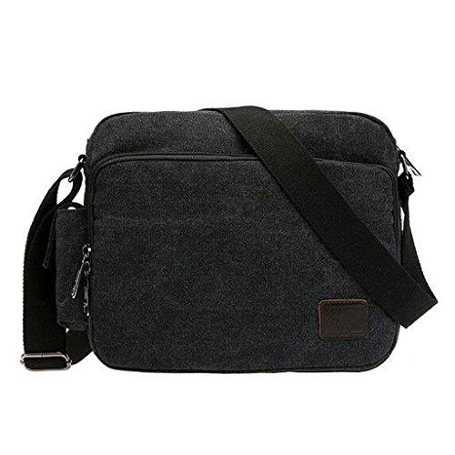 Generic Retro Multifonction Sac Cartable en Toile Sac Messenger Sac à Porter à l'épaule - Noir Gris, Taille Unique