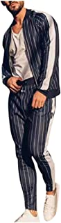 Men's Stripe Tracksuit Autumn Winter Casual Top+Pants Sets Sport Suit