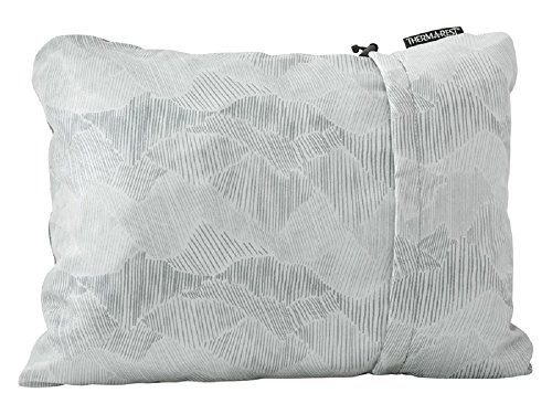 Therm-a-Rest Compressible Travel Pillow for Camping, Backpacking, Airplanes and Road Trips, Gray, Small - 12 x 16 Inches