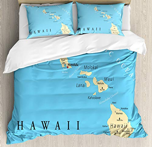 HUNKKY Hawaiian Duvet Cover Set, Map of Hawaii Islands with Capital Honolulu Borders and Important Cities, Queen Size, Black Ivory