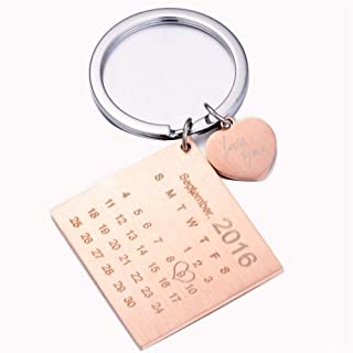 Personalized Calendar Keychain - Calendar Key Chain Special Day Calendar Wedding Anniversary Birthday Gift (Rose Gold)