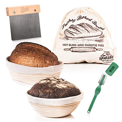 Taste Emporium Bread Proofing Basket Set of 2 | 9 Inch Round and 9.6 Inch Oval Rattan Baskets with Liners + Bread Bag + Bread Lame + Dough Scraper | Sourdough Bread Banneton Proofing Basket Supplies