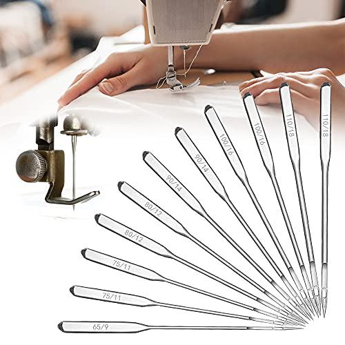 Agujas para máquina de coser, 60 unidades, universales para máquina de coser Brother Janome Singer 65/9 75/11 80/12 90/14 100/16 110/18 accesorios para máquina de coser de cuero Denim Jeans Jersey