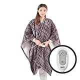 Cozy Sherpa Heated Shawl Wrap Heat Blanket | Electric Heating Throw with Controller | Washable, Auto Shutoff, Reversible 50 x 64 Inch, Grey Plaid