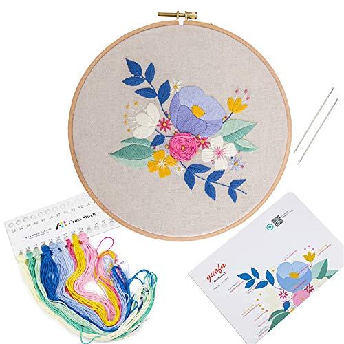 花をモチーフにした刺繍生地、刺繍ループ、色付きの綿糸、針、中英説明書など、初心者向けのあらゆる種類の刺繍ツール (511127)