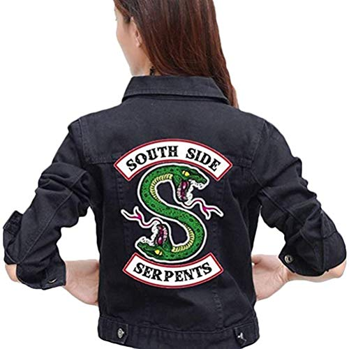 Yesgirl Mode Riverdale Southside Serpents Jacke Damen Slim Fit Denim Jacket Coole Bauchfreier Jeansjacke Kurz Winterjacke Pullover Sweatshirt Jäckchen Crop Tops Mantel Pulli Schwarz X-Large