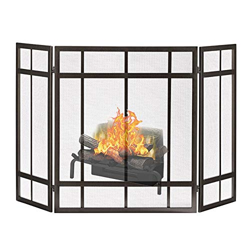 ZJM Fireplace Spark Protection Classic Style Iron Fireplace Screen, Extra Wide Previous Fire Screen Vintage 3-Panel Wrought Black Spark Guard Cover