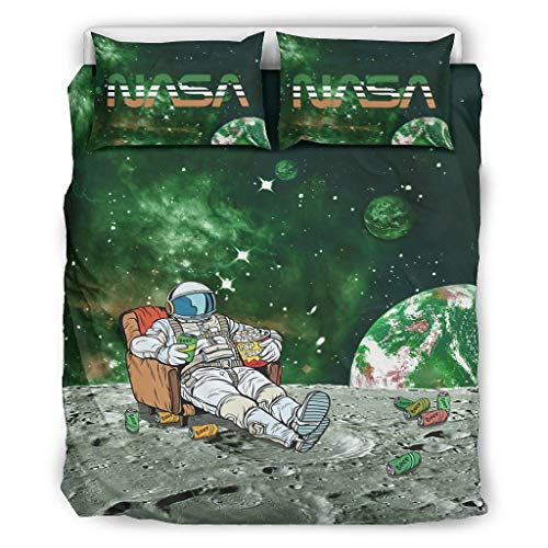 FFanClassic Quilt Set nasa logo Astronaut Soft Lightweight All-Season - Bed Set 3 Piece for Boys Bedroom white 104x90 inch